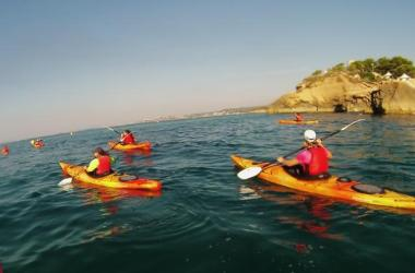 Arnau will lead you, by sailing with a kayak, up to some of the best hidden coves in Tarragona shore (picture by TGNautica kayak)