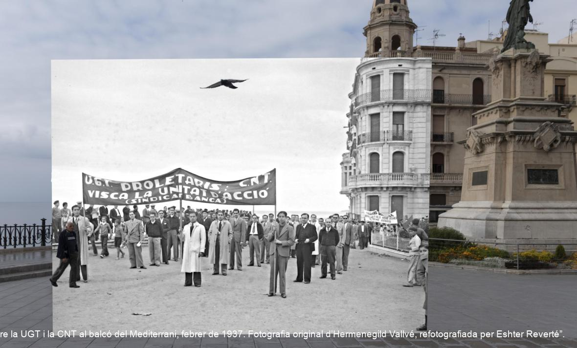 """""""Representantes del Sindicato de Banca pidiendo la unidad de acción entre la UGT y la CNT en el balcón del Mediterráneo, febrero de 1937. Fotografía original de Hermenegild Vallvé, refotografiada por Eshter Reverté"""""""